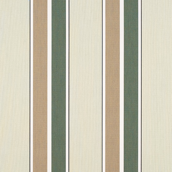 Sunbrella® Fabric 4959-0000 Fern/Heather Beige Block Stripe
